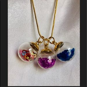 Jewelry - 18K gold necklace floating Charm Crystal Ball Set